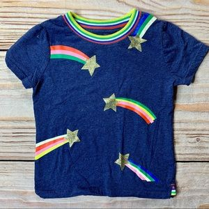 Mini Boden rainbow shooting stars tee size 4-5 y